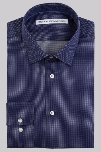 French Connection Slim Fit Navy Single Cuff Square Texture Shirt