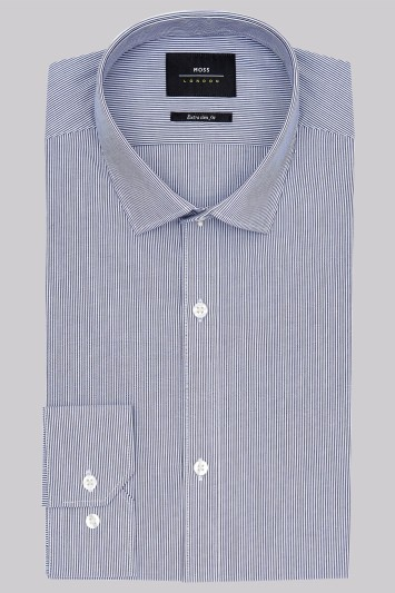 Moss London Extra Slim Fit Navy Single Cuff Skinny Stripe Shirt