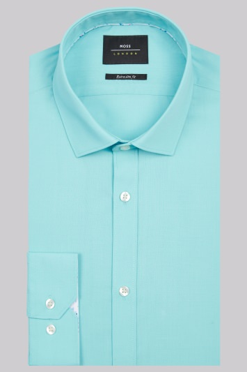 Moss London Extra Slim Fit Mint Green Single Cuff Shirt