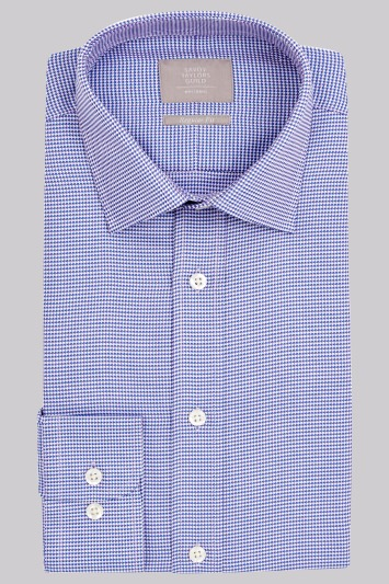 Savoy Taylors Guild Regular Fit Purple and Blue Single Cuff Texture Shirt