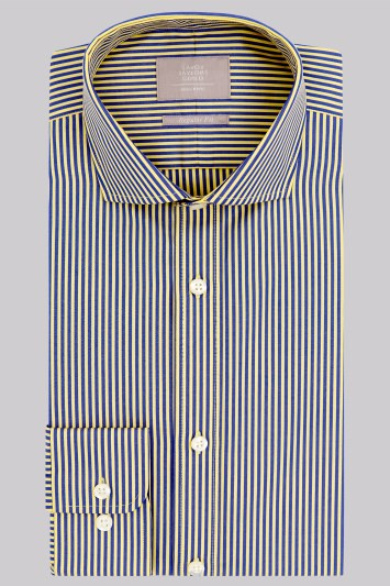 Savoy Taylors Guild Regular Fit Yellow and Navy Single Cuff Stripe Shirt