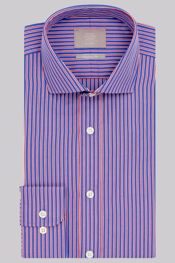 Savoy Taylors Guild Regular Fit Red and Blue Single Cuff Edge Stripe Shirt