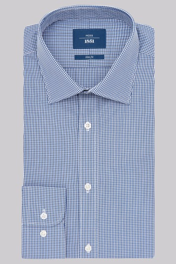 Moss 1851 Slim Fit Navy Single Cuff Gingham Check Shirt