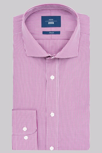 Moss 1851 Slim Fit Mulberry Single Cuff Gingham Check Shirt