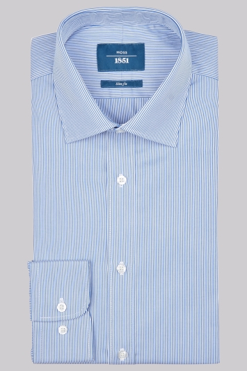 Moss 1851 Slim Fit Navy Single Cuff Skinny Stripe Shirt