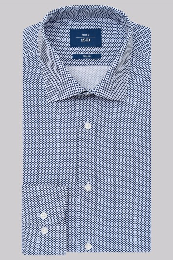 Moss 1851 Slim Fit Navy Single Cuff Spot Print Shirt