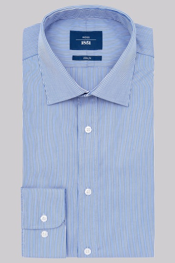 Moss 1851 Slim Fit Blue Single Cuff Bengal Stripe Shirt