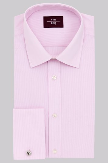 Moss Esq. Regular Fit Pink Double Cuff Hairline Stripe Non-Iron Shirt