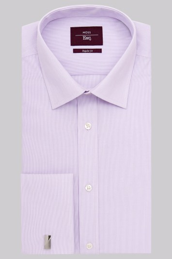 Moss Esq. Regular Fit Lilac Double Cuff Hairline Stripe Non-Iron Shirt