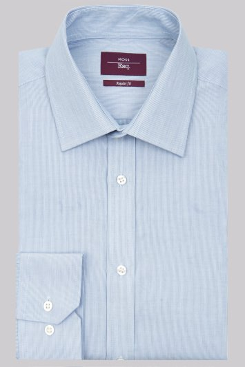 Moss Esq. Regular Fit Navy Single Cuff Hairline Stripe Non-Iron Shirt