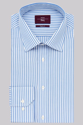 Moss Esq. Regular Fit Blue and Yellow Single Cuff Candy Stripe Non-Iron Shirt