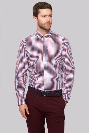 Moss 1851 Slim Fit Wine and Navy Single Cuff Gingham Check Casual Shirt