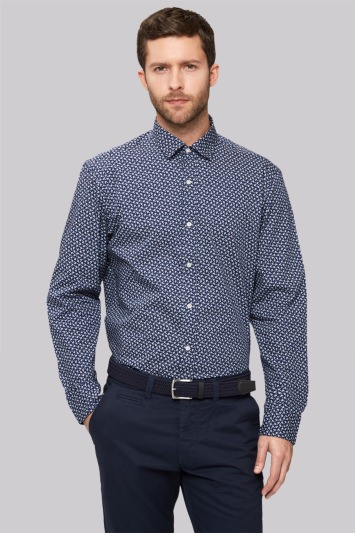 Moss 1851 Slim Fit Navy Single Cuff Flower Print Casual Shirt