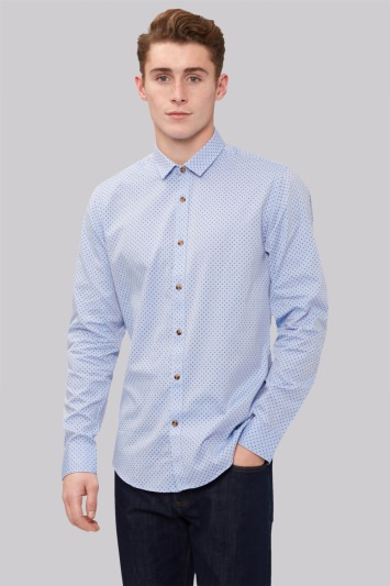 Moss London Extra Slim Fit Sky Single Cuff Spot Oxford Casual Shirt
