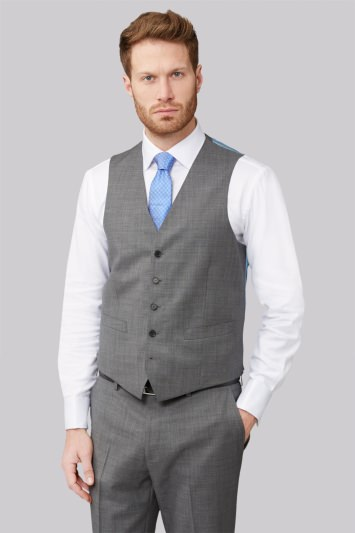Savoy Taylors Guild Regular Fit Grey Sharkskin Waistcoat