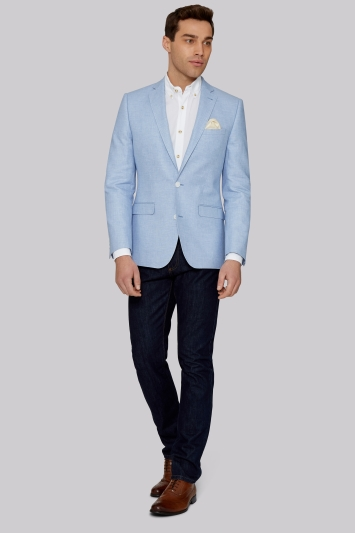 Moss 1851 Tailored Fit Sky Blue Linen Cotton Jacket