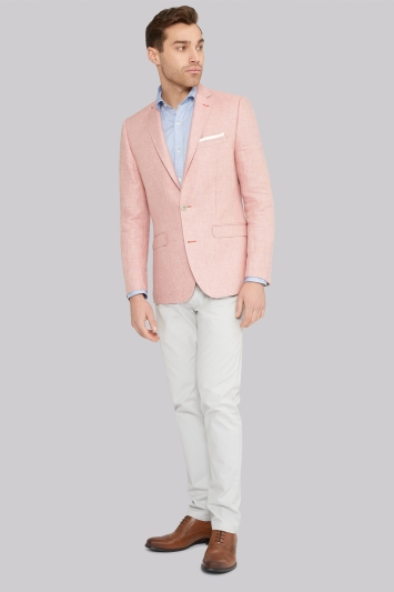 Moss 1851 Tailored Fit Pink Linen Jacket