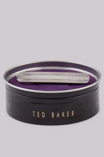 Ted Baker Silver Curved Diamante Tie Bar