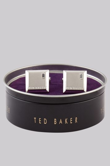 Ted Baker Silver Square Diamante Cufflink