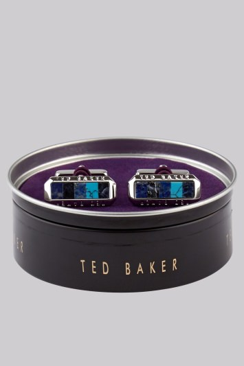 Ted Baker Blue Stone and Shell Rectangle Cufflink