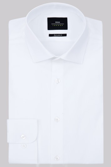 Moss London Premium Extra Slim Fit White Single Cuff Poplin Shirt