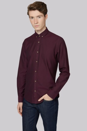 Moss London Extra Slim Fit Wine Single Cuff Oxford Button Down Casual Shirt