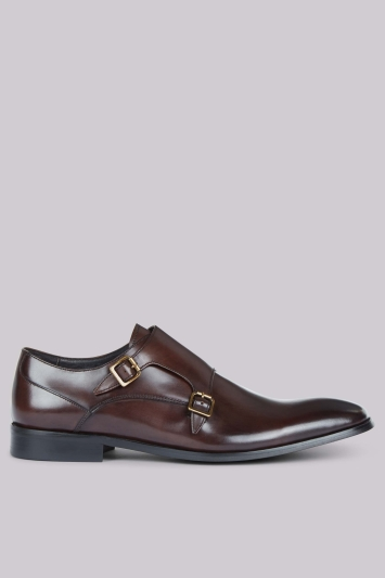 John White Shard Brown Double Monk Shoes