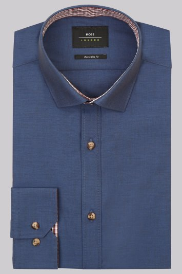 Moss London Extra Slim Fit Navy Single Cuff Chambray Shirt