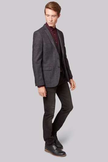 Moss London Slim Fit Charcoal Windowpane Jacket