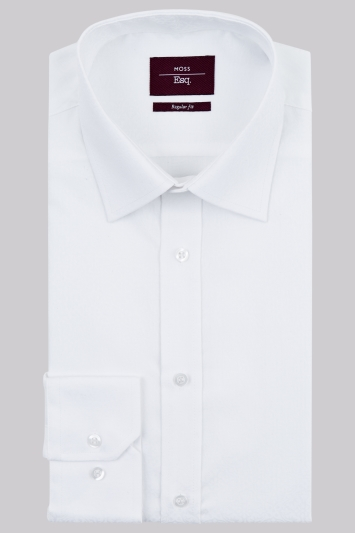 Moss Esq Regular Fit White Single Cuff Baroque Jacquard Easy Iron Shirt