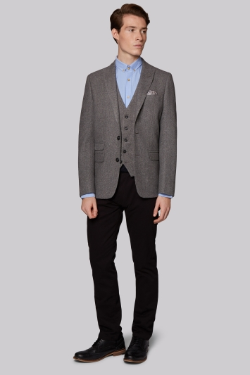 Moss London Slim Fit Light Grey Hopsack Jacket