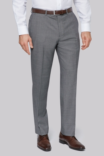 Savoy Taylors Guild Regular Fit Black and White Birdseye Trousers