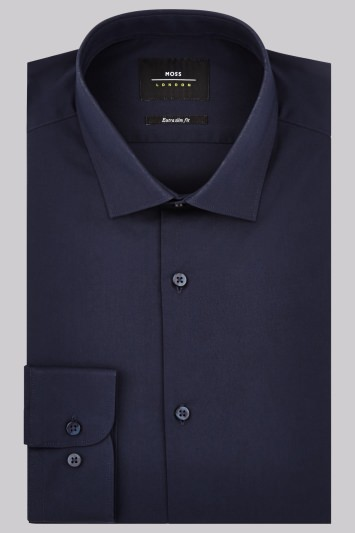 Moss London Extra Slim Fit Deep Navy Single Cuff Stretch Shirt