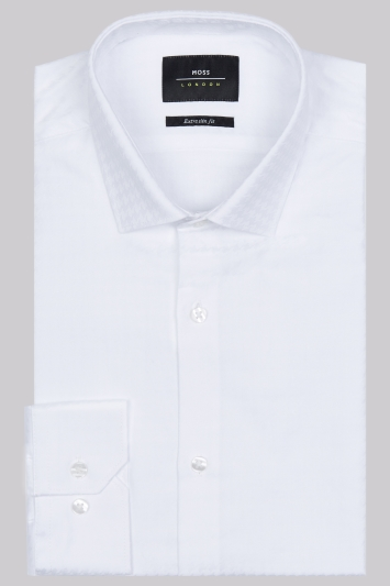 Moss London Extra Slim Fit White Single Cuff Jacquard Houndstooth Shirt