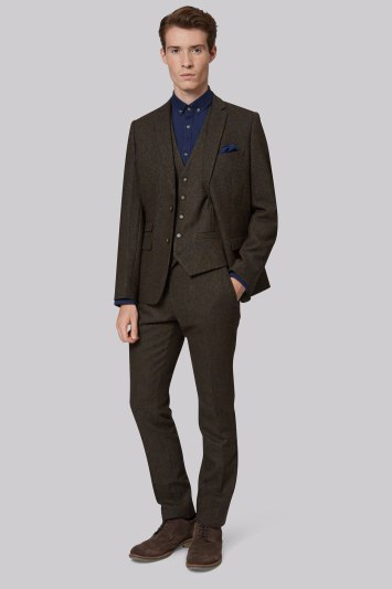 Moss London Slim Fit Dark Green Donegal Jacket