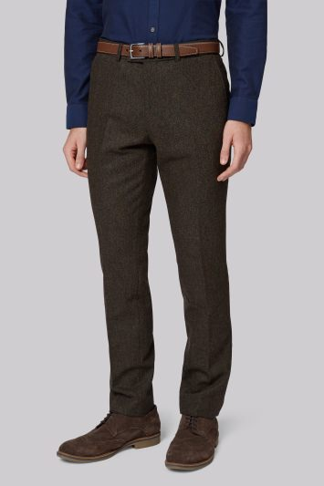 Moss London Slim Fit Green Donegal Trousers