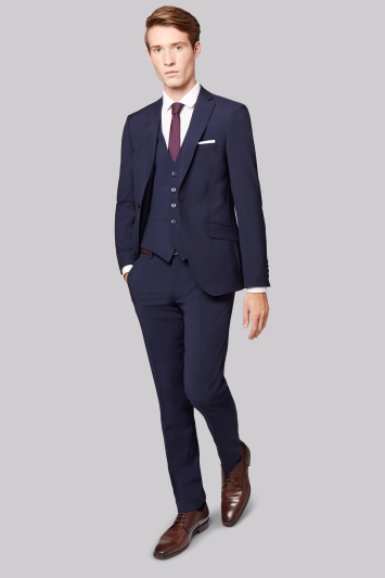 Moss London Skinny Fit Navy City Jacket