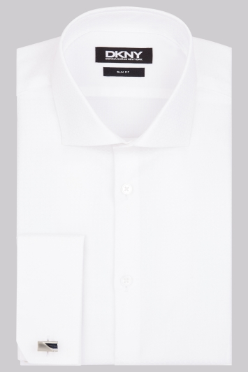 DKNY Slim Fit White Double Cuff Square Textured Shirt