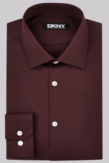 DKNY Slim Fit Burgundy Single Cuff Sateen Shirt