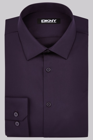 DKNY Slim Fit Aubergine Single Cuff Sateen Shirt
