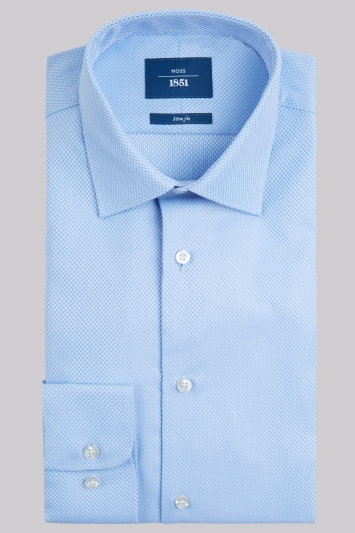 Moss 1851 Slim Fit Sky and White Single Cuff Basket Weave Shirt