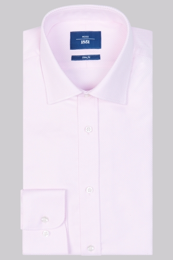 Moss 1851 Slim Fit Pink Single Cuff Basket Weave Shirt