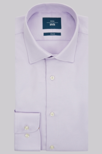 Moss 1851 Slim Fit Lilac Single Cuff Basket Weave Shirt