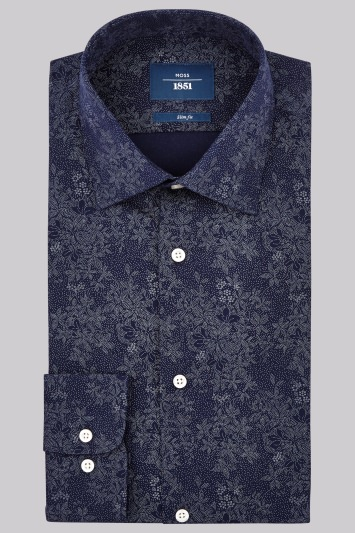 Moss 1851 Slim Fit Navy Single Cuff Pindot Floral Shirt