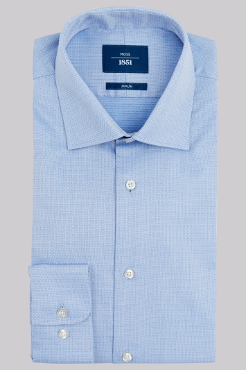 Moss 1851 Slim Fit Sky Blue Single Cuff Geo Textured Shirt