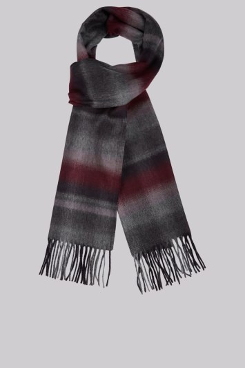 Moss 1851 Wine Faded Herringbone Check Scarf