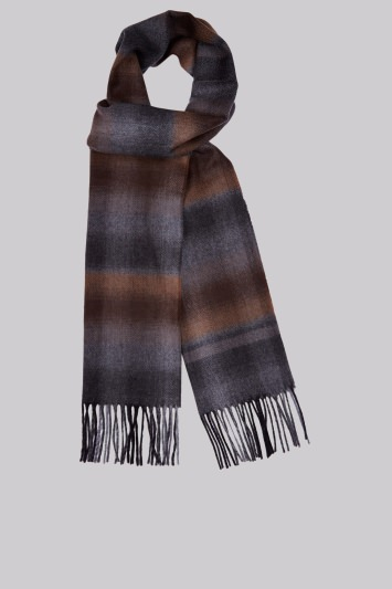 Moss 1851 Camel Faded Herringbone Check Scarf