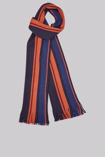 Moss 1851 Orange and Navy Knitted Stripe Scarf