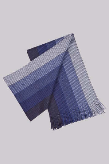 Moss 1851 Navy Knitted Stripe Scarf