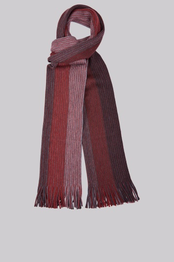 Moss 1851 Red Knitted Stripe Scarf